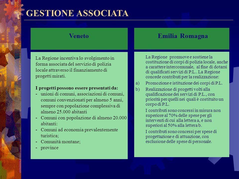 GESTIONE ASSOCIATA Lombardia La Regione incentiva lo svolgimento in forma associata del servizio di polizia locale attraverso il finanziamento di prog