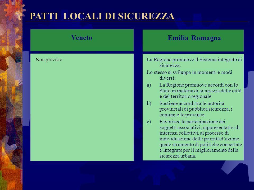 PATTI LOCALI DI SICUREZZA Lombardia -Il patto locale di sicurezza urbana è lo strumento attraverso il quale, ferme restando le competenze proprie di c