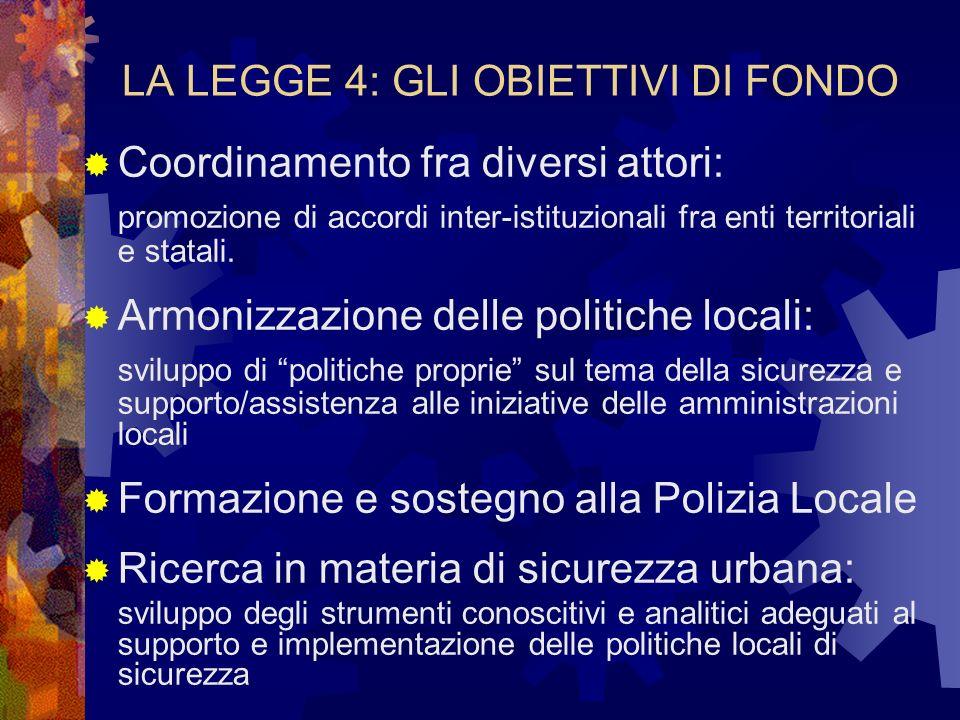 LA LEGGE 4: GLI OBIETTIVI DI FONDO Coordinamento fra diversi attori: promozione di accordi inter-istituzionali fra enti territoriali e statali.