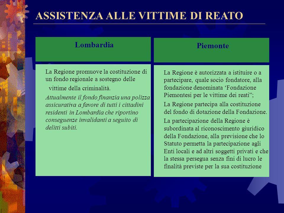 VOLONTARIATO E ASSOCIAZIONISMO Veneto La Regione: -promuove lattività del volontariato e dellassociazionismo per svolgere attività di animazione cultu