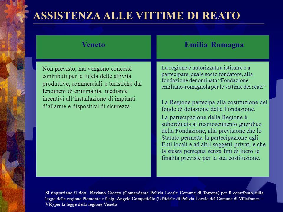 ASSISTENZA ALLE VITTIME DI REATO Lombardia La Regione promuove la costituzione di un fondo regionale a sostegno delle vittime della criminalità. Attua