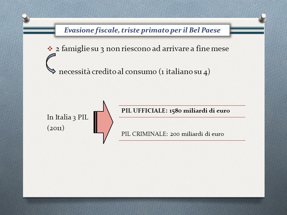 2 famiglie su 3 non riescono ad arrivare a fine mese necessità credito al consumo (1 italiano su 4) In Italia 3 PIL (2011) PIL UFFICIALE: 1580 miliardi di euro PIL CRIMINALE: 200 miliardi di euro