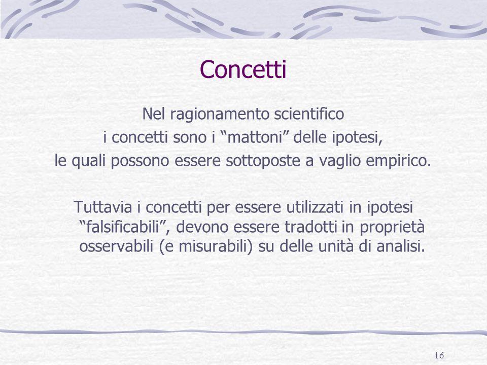 16 Concetti Nel ragionamento scientifico i concetti sono i mattoni delle ipotesi, le quali possono essere sottoposte a vaglio empirico. Tuttavia i con