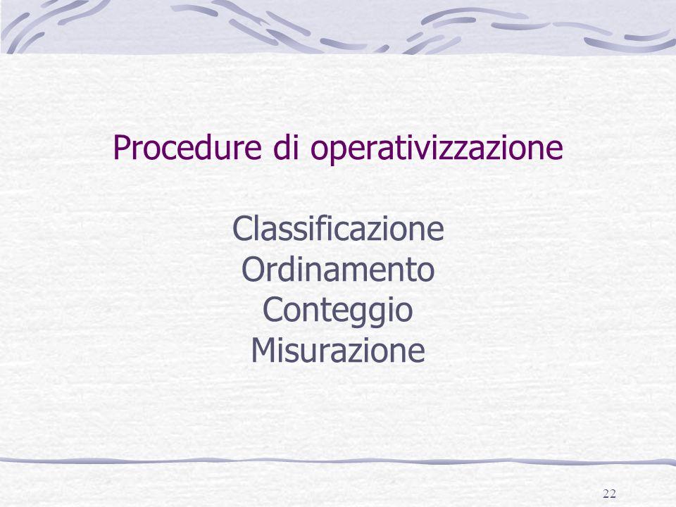 22 Procedure di operativizzazione Classificazione Ordinamento Conteggio Misurazione