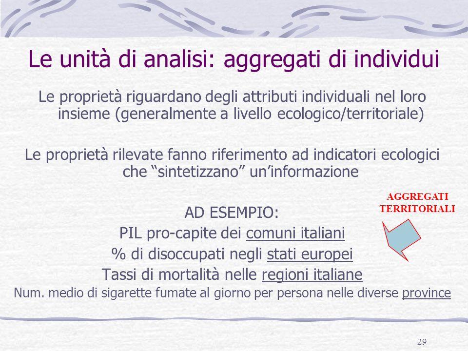 29 Le unità di analisi: aggregati di individui Le proprietà riguardano degli attributi individuali nel loro insieme (generalmente a livello ecologico/