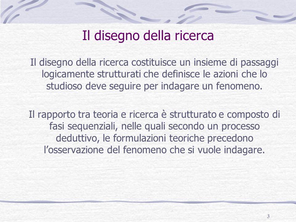 3 Il disegno della ricerca Il disegno della ricerca costituisce un insieme di passaggi logicamente strutturati che definisce le azioni che lo studioso