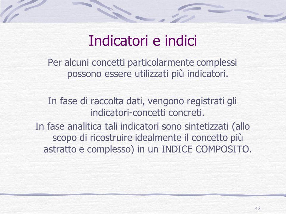 43 Indicatori e indici Per alcuni concetti particolarmente complessi possono essere utilizzati più indicatori. In fase di raccolta dati, vengono regis
