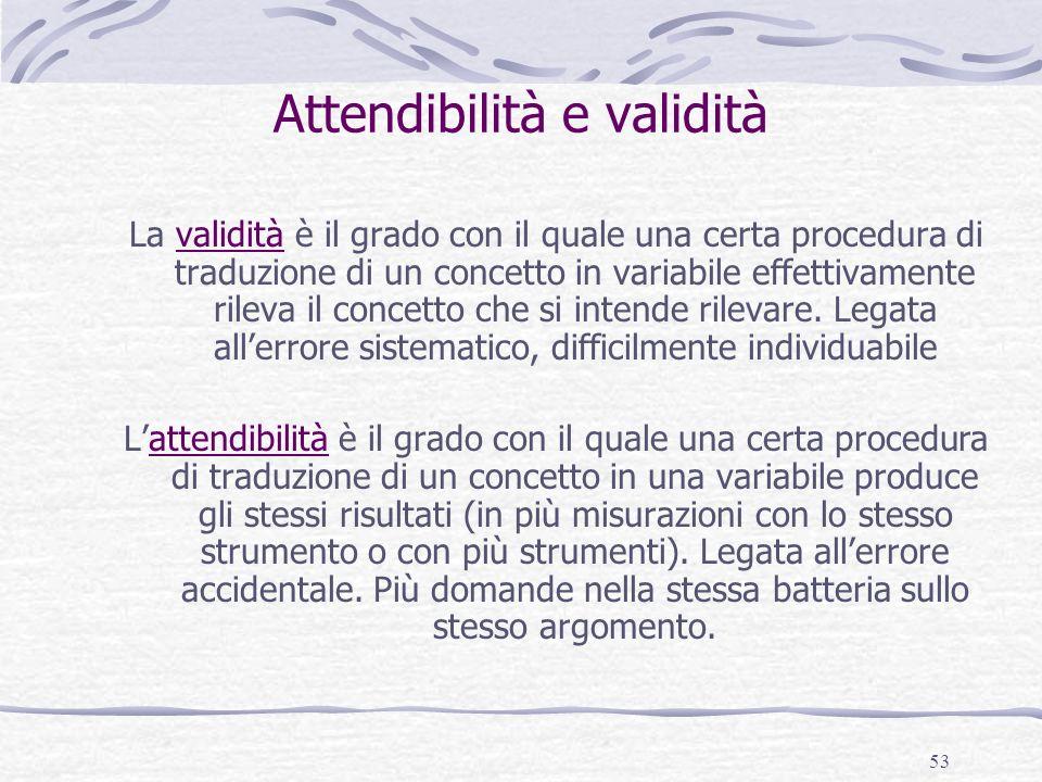 53 Attendibilità e validità La validità è il grado con il quale una certa procedura di traduzione di un concetto in variabile effettivamente rileva il