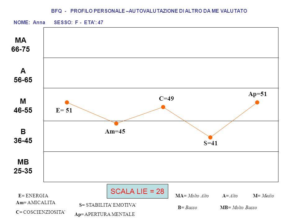 E= 51 C=49 S=41 Ap=51 Am= AMICALITA S= STABILITA EMOTIVA C= COSCIENZIOSITA Ap= APERTURA MENTALE MA= Molto AltoM= Medio B= Basso BFQ - PROFILO PERSONAL