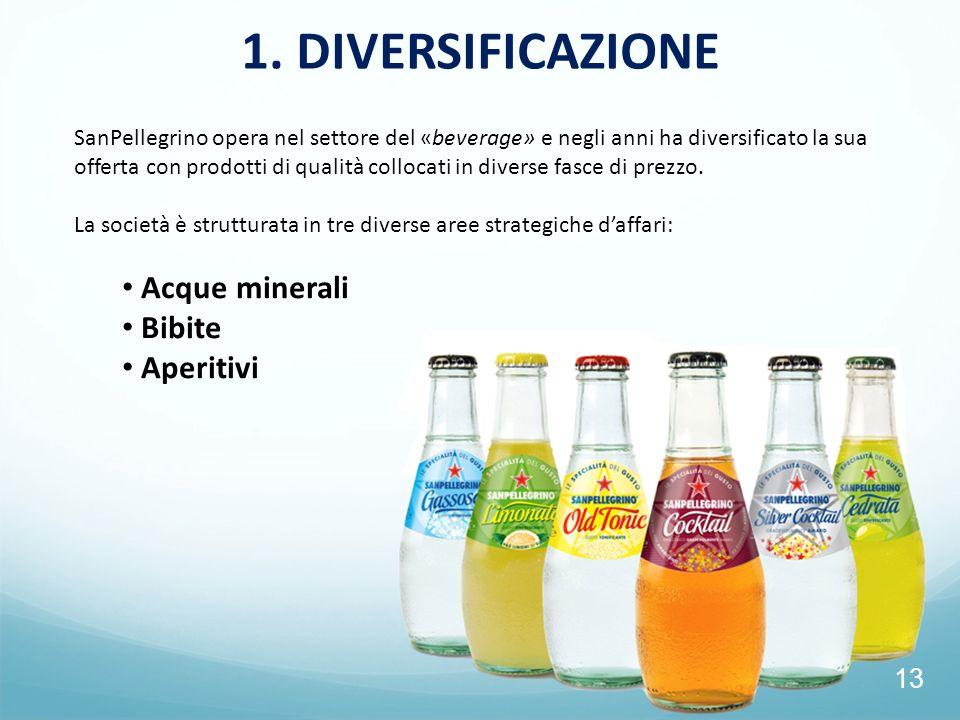 13 1. DIVERSIFICAZIONE SanPellegrino opera nel settore del «beverage» e negli anni ha diversificato la sua offerta con prodotti di qualità collocati i