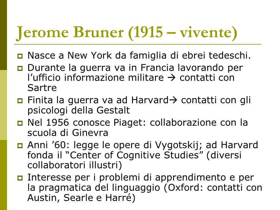 Jerome Bruner (1915 – vivente) Nasce a New York da famiglia di ebrei tedeschi. Durante la guerra va in Francia lavorando per lufficio informazione mil
