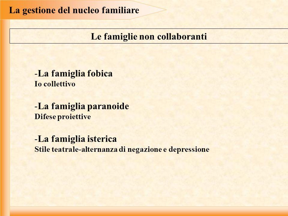 La gestione del nucleo familiare -La famiglia fobica Io collettivo -La famiglia paranoide Difese proiettive -La famiglia isterica Stile teatrale-alter