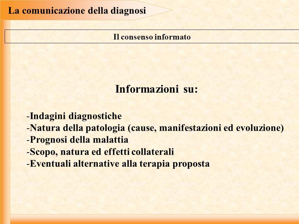 La comunicazione della diagnosi Informazioni su: -Indagini diagnostiche -Natura della patologia (cause, manifestazioni ed evoluzione) -Prognosi della