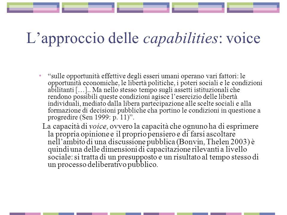 Lapproccio delle capabilities: voice sulle opportunità effettive degli esseri umani operano vari fattori: le opportunità economiche, le libertà politiche, i poteri sociali e le condizioni abilitanti […]..