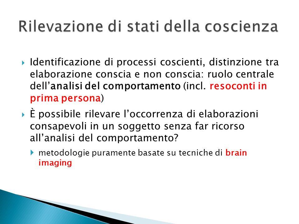 Identificazione di processi coscienti, distinzione tra elaborazione conscia e non conscia: ruolo centrale dellanalisi del comportamento (incl. resocon
