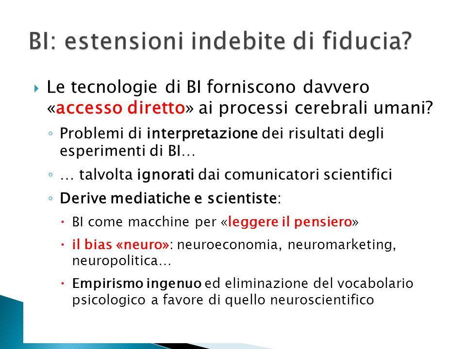 Le tecnologie di BI forniscono davvero «accesso diretto» ai processi cerebrali umani? Problemi di interpretazione dei risultati degli esperimenti di B