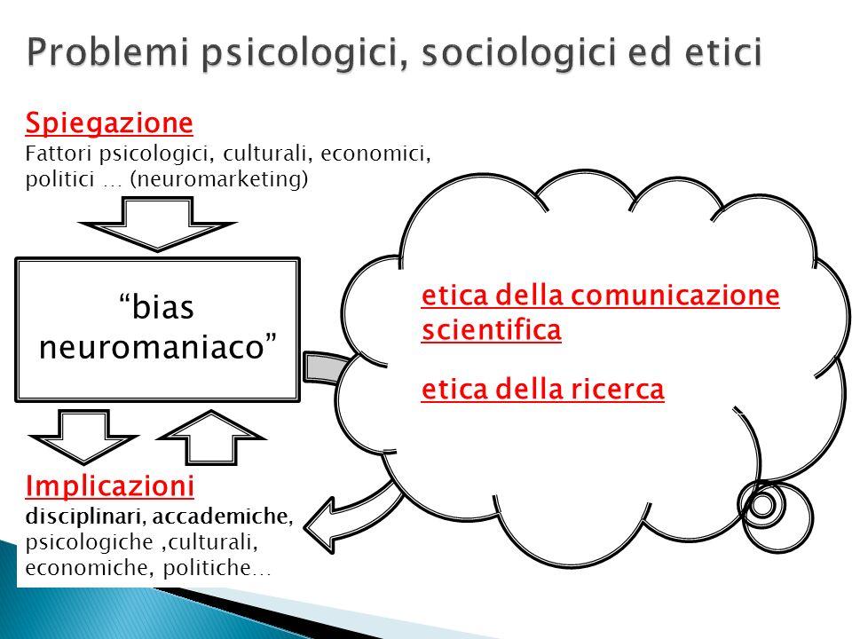 Implicazioni disciplinari, accademiche, psicologiche,culturali, economiche, politiche… bias neuromaniaco Spiegazione Fattori psicologici, culturali, e
