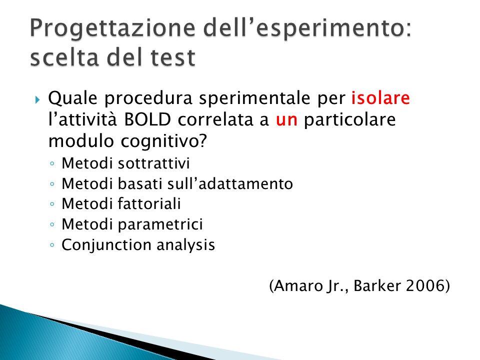 Quale procedura sperimentale per isolare lattività BOLD correlata a un particolare modulo cognitivo? Metodi sottrattivi Metodi basati sulladattamento