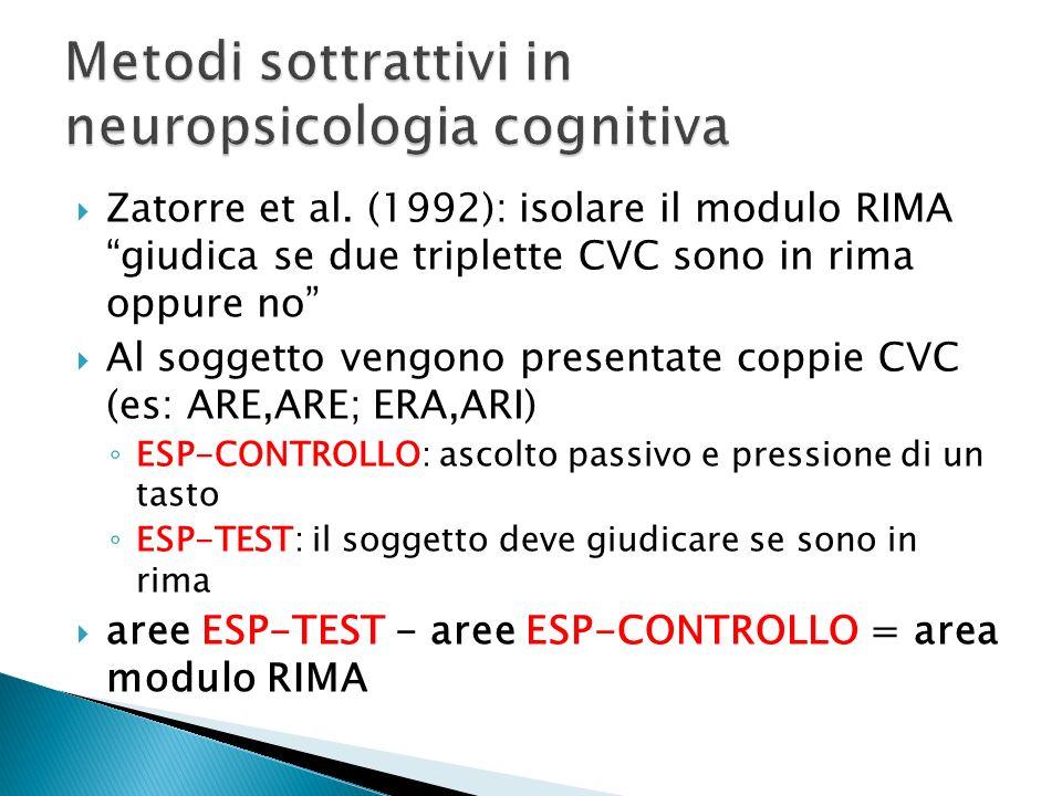 Zatorre et al. (1992): isolare il modulo RIMA giudica se due triplette CVC sono in rima oppure no Al soggetto vengono presentate coppie CVC (es: ARE,A