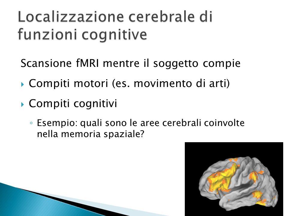 Scansione fMRI mentre il soggetto compie Compiti motori (es. movimento di arti) Compiti cognitivi Esempio: quali sono le aree cerebrali coinvolte nell
