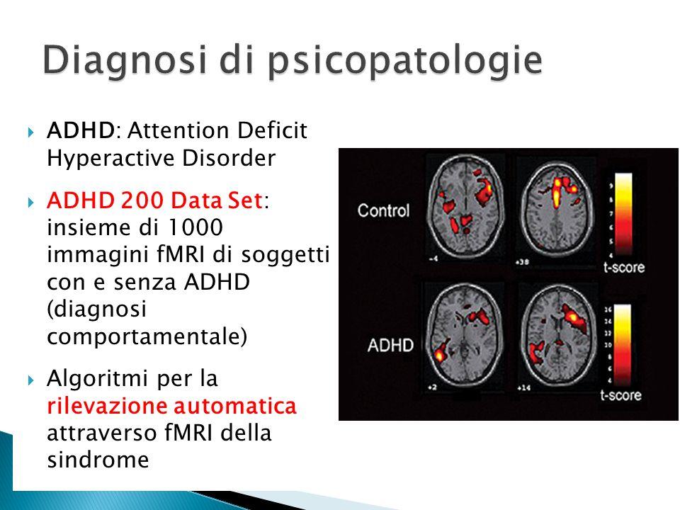 ADHD: Attention Deficit Hyperactive Disorder ADHD 200 Data Set: insieme di 1000 immagini fMRI di soggetti con e senza ADHD (diagnosi comportamentale)