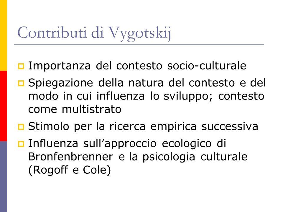 Contributi di Vygotskij Importanza del contesto socio-culturale Spiegazione della natura del contesto e del modo in cui influenza lo sviluppo; contest