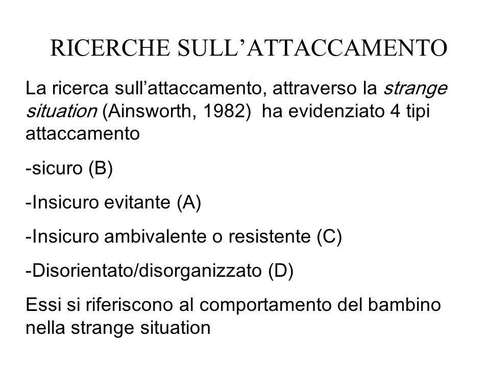 RICERCHE SULLATTACCAMENTO La ricerca sullattaccamento, attraverso la strange situation (Ainsworth, 1982) ha evidenziato 4 tipi attaccamento -sicuro (B) -Insicuro evitante (A) -Insicuro ambivalente o resistente (C) -Disorientato/disorganizzato (D) Essi si riferiscono al comportamento del bambino nella strange situation