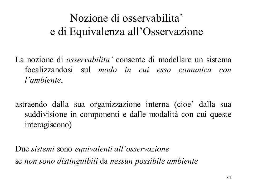31 Nozione di osservabilita e di Equivalenza allOsservazione La nozione di osservabilita consente di modellare un sistema focalizzandosi sul modo in c