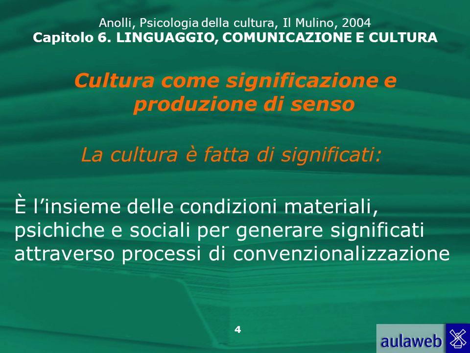 45 Anolli, Psicologia della cultura, Il Mulino, 2004 Capitolo 6.