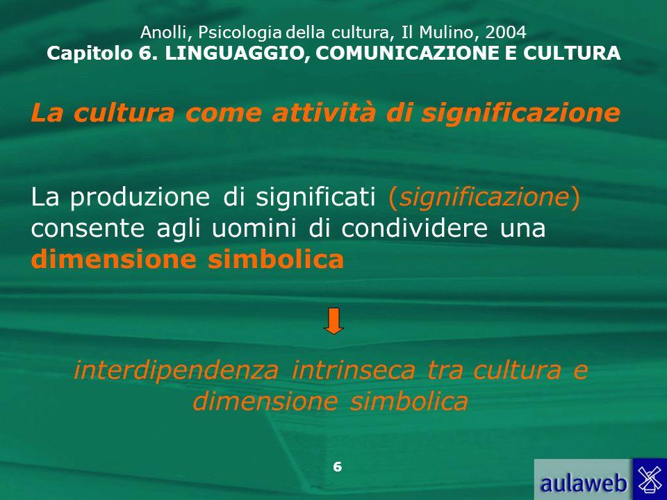 17 Anolli, Psicologia della cultura, Il Mulino, 2004 Capitolo 6.