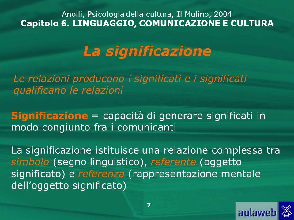 18 Anolli, Psicologia della cultura, Il Mulino, 2004 Capitolo 6.