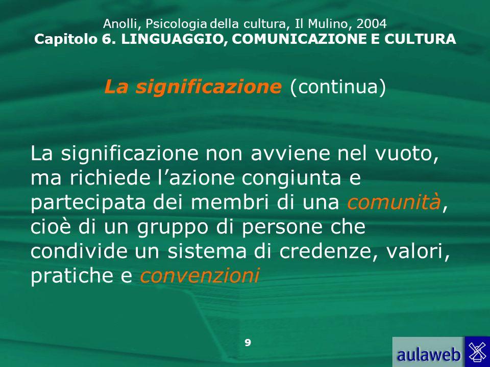 30 Anolli, Psicologia della cultura, Il Mulino, 2004 Capitolo 6.
