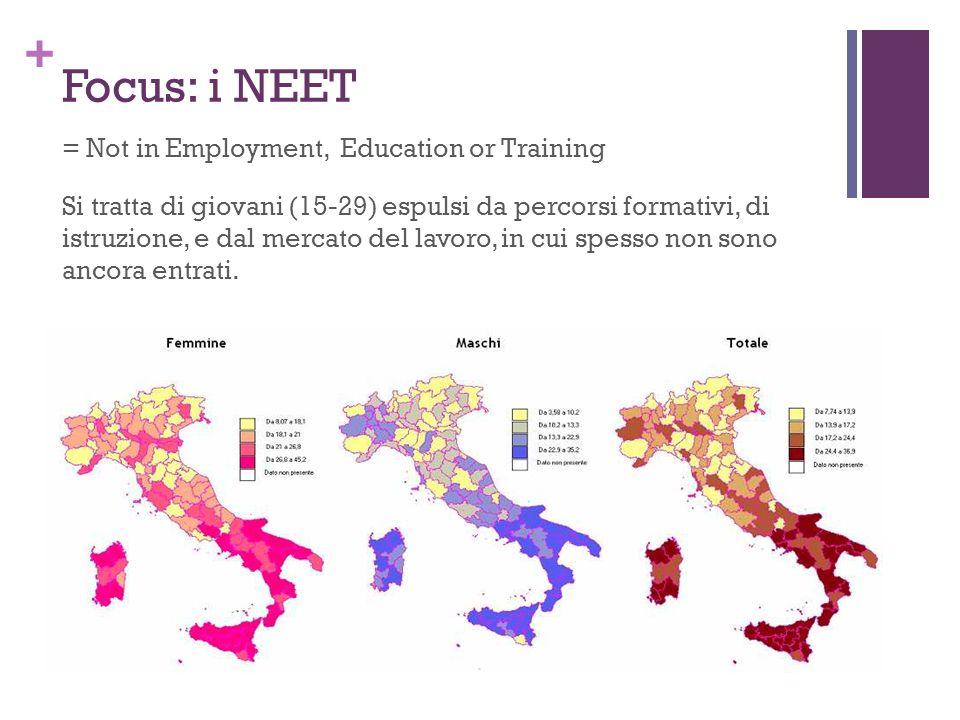 + Focus: i NEET = Not in Employment, Education or Training Si tratta di giovani (15-29) espulsi da percorsi formativi, di istruzione, e dal mercato del lavoro, in cui spesso non sono ancora entrati.