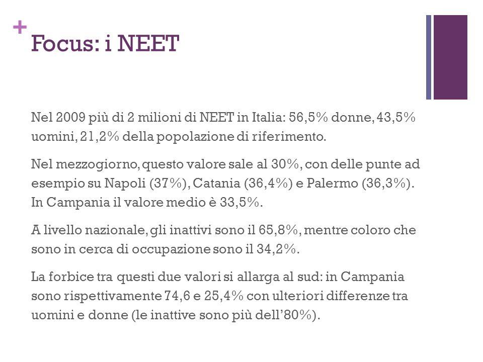 + Focus: i NEET Nel 2009 più di 2 milioni di NEET in Italia: 56,5% donne, 43,5% uomini, 21,2% della popolazione di riferimento. Nel mezzogiorno, quest