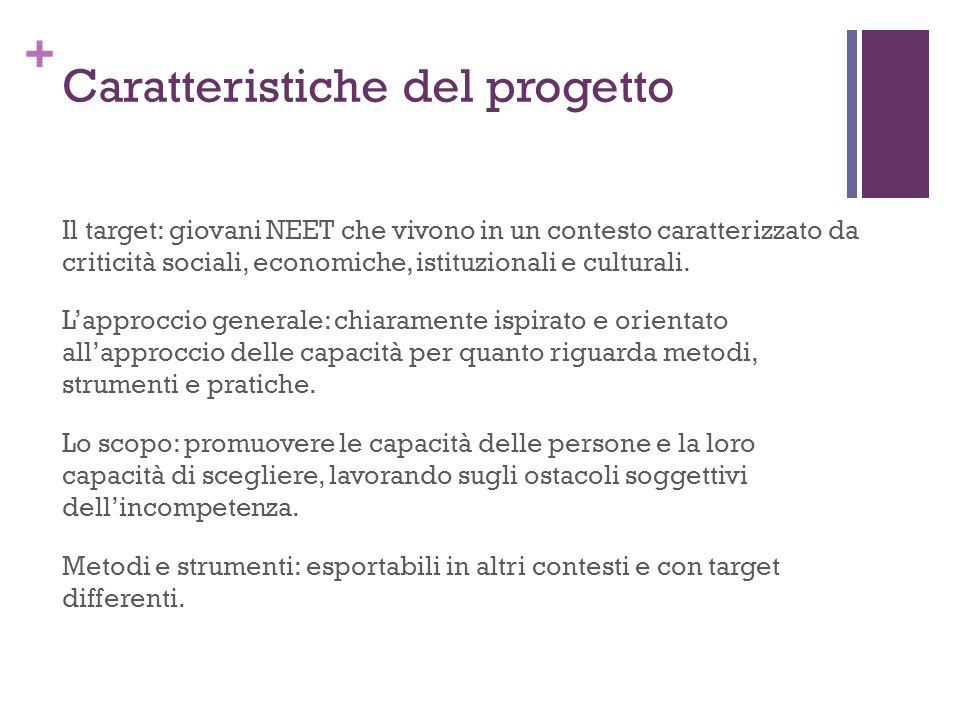 + Caratteristiche del progetto Il target: giovani NEET che vivono in un contesto caratterizzato da criticità sociali, economiche, istituzionali e culturali.