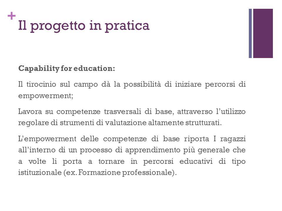 + Il progetto in pratica Capability for education: Il tirocinio sul campo dà la possibilità di iniziare percorsi di empowerment; Lavora su competenze