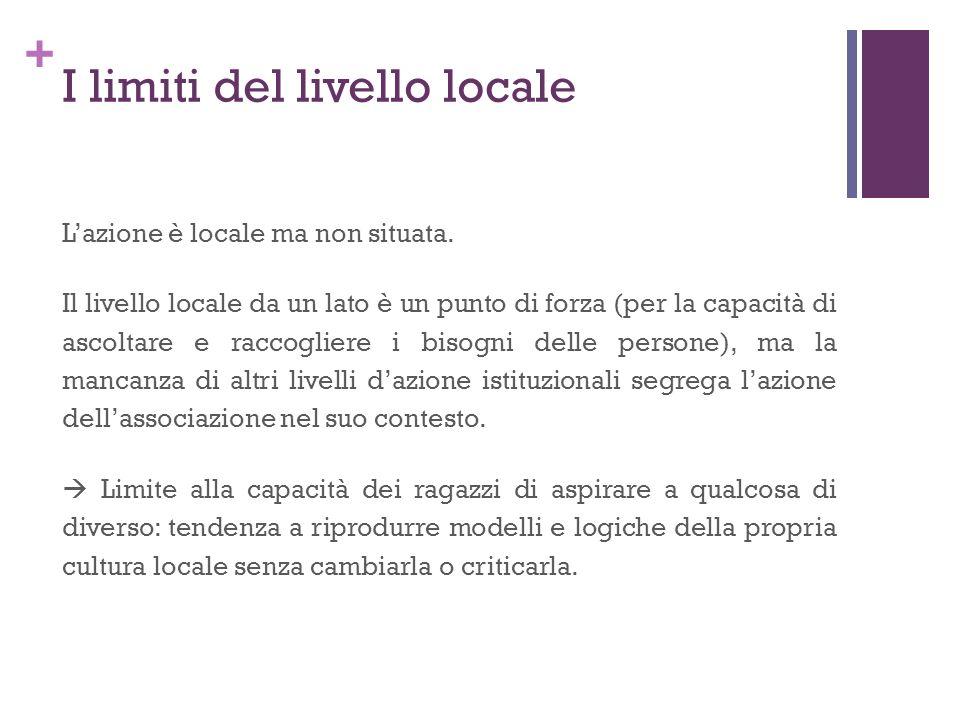 + I limiti del livello locale Lazione è locale ma non situata. Il livello locale da un lato è un punto di forza (per la capacità di ascoltare e raccog