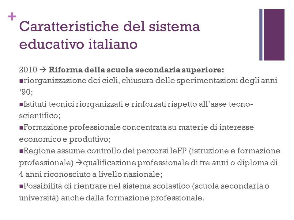 + Caratteristiche del sistema educativo italiano 2010 Riforma della scuola secondaria superiore: riorganizzazione dei cicli, chiusura delle sperimenta