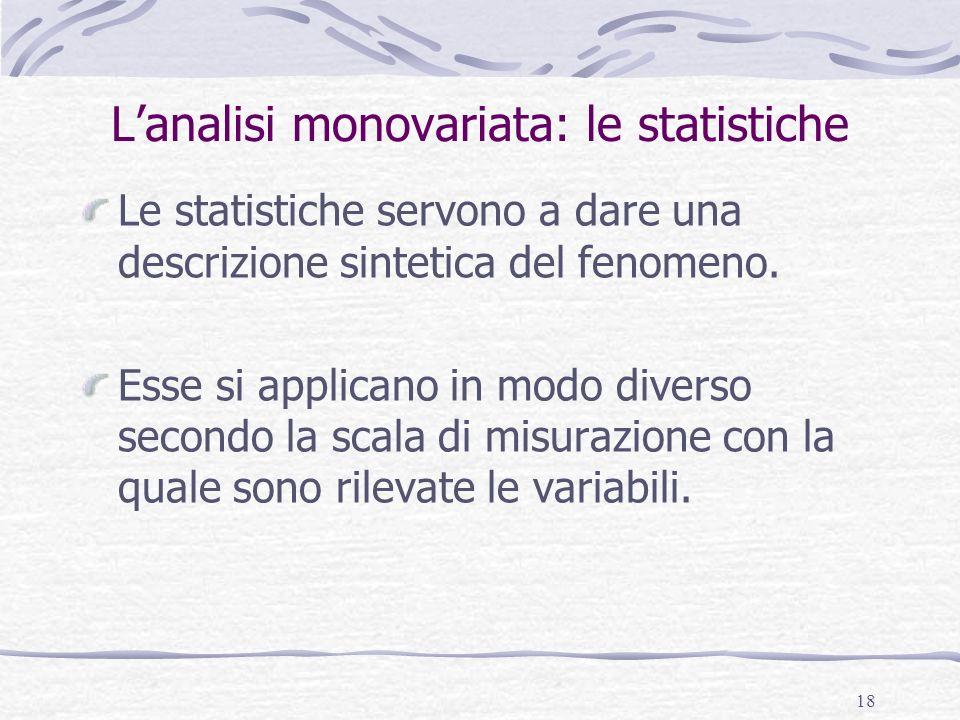 18 Lanalisi monovariata: le statistiche Le statistiche servono a dare una descrizione sintetica del fenomeno. Esse si applicano in modo diverso second