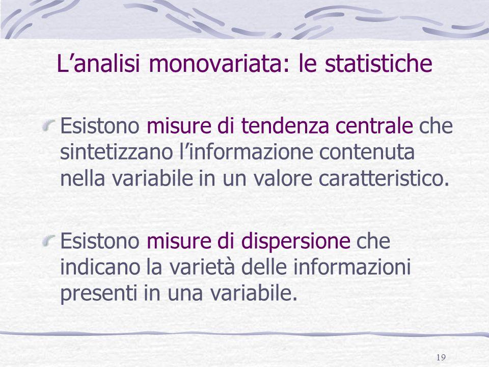 19 Lanalisi monovariata: le statistiche Esistono misure di tendenza centrale che sintetizzano linformazione contenuta nella variabile in un valore car