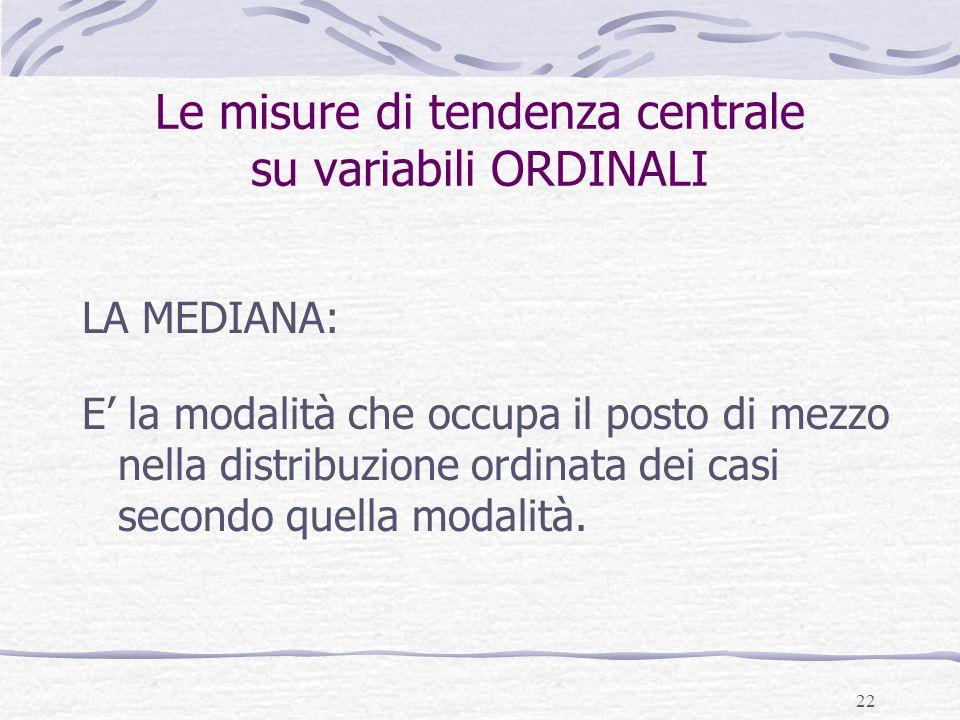 22 Le misure di tendenza centrale su variabili ORDINALI LA MEDIANA: E la modalità che occupa il posto di mezzo nella distribuzione ordinata dei casi s