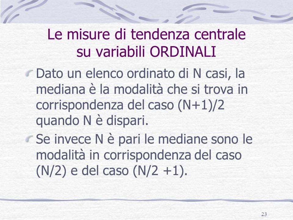 23 Le misure di tendenza centrale su variabili ORDINALI Dato un elenco ordinato di N casi, la mediana è la modalità che si trova in corrispondenza del