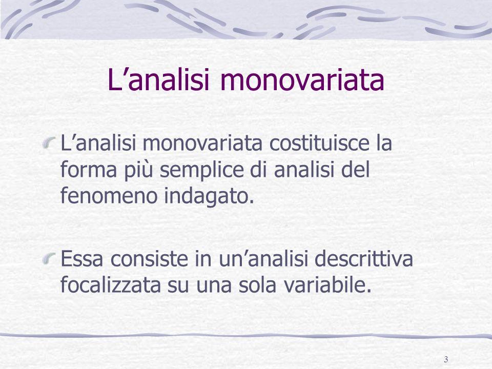 3 Lanalisi monovariata Lanalisi monovariata costituisce la forma più semplice di analisi del fenomeno indagato. Essa consiste in unanalisi descrittiva