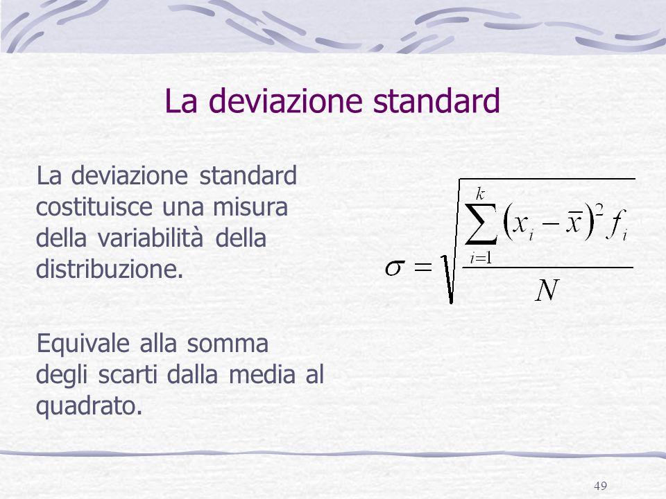 49 La deviazione standard La deviazione standard costituisce una misura della variabilità della distribuzione. Equivale alla somma degli scarti dalla