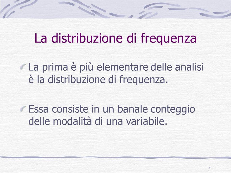 5 La distribuzione di frequenza La prima è più elementare delle analisi è la distribuzione di frequenza. Essa consiste in un banale conteggio delle mo