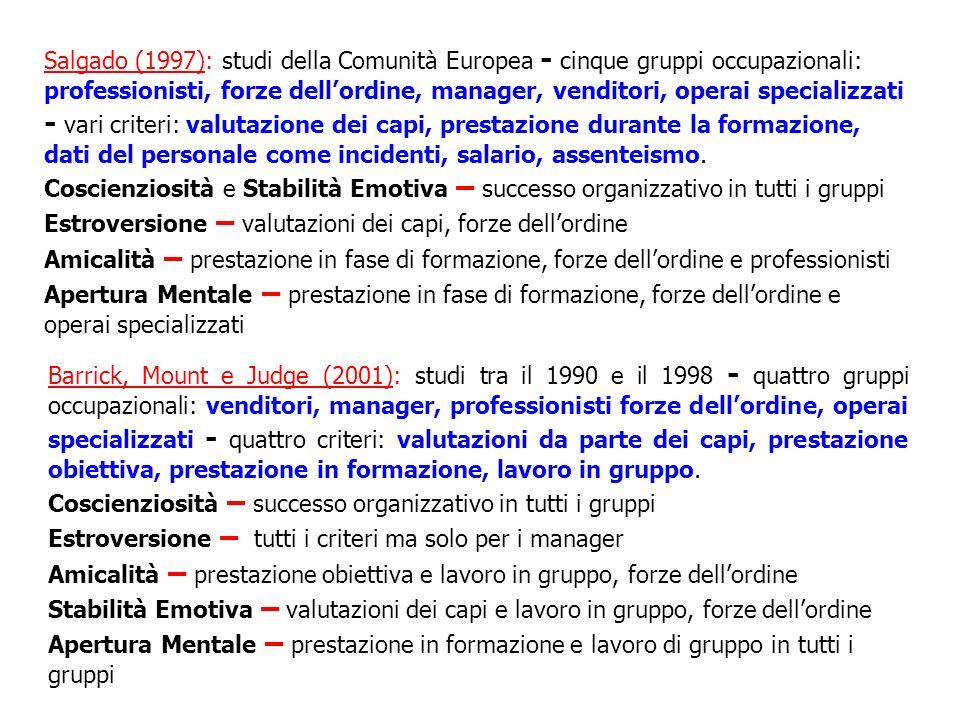 Salgado (1997): studi della Comunità Europea - cinque gruppi occupazionali: professionisti, forze dellordine, manager, venditori, operai specializzati