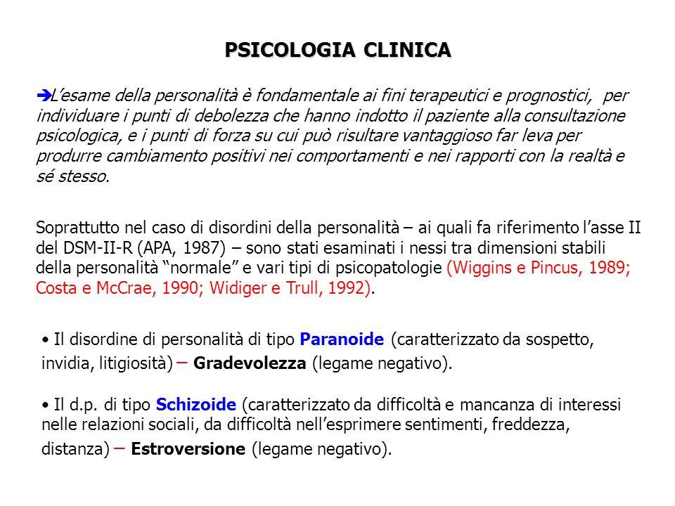 PSICOLOGIA CLINICA Lesame della personalità è fondamentale ai fini terapeutici e prognostici, per individuare i punti di debolezza che hanno indotto i