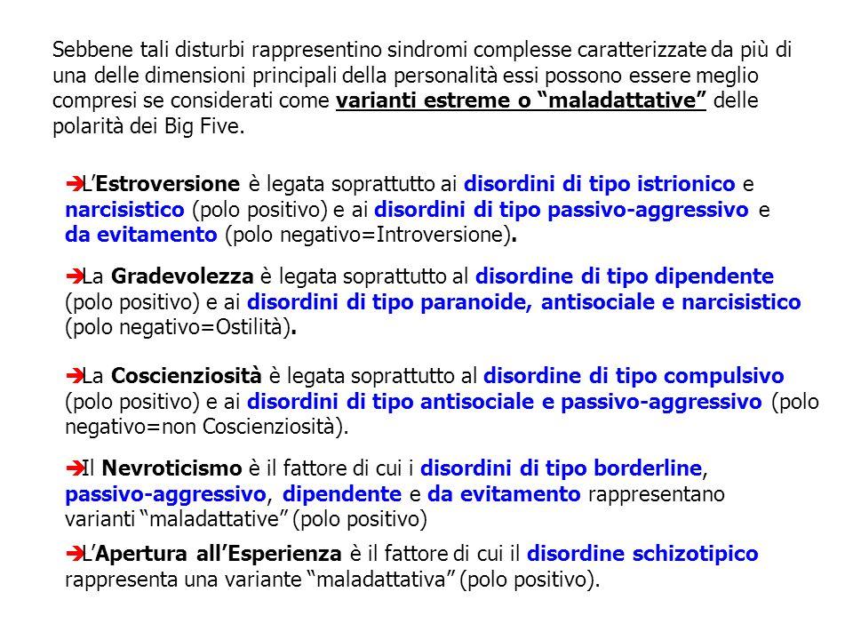 La Gradevolezza è legata soprattutto al disordine di tipo dipendente (polo positivo) e ai disordini di tipo paranoide, antisociale e narcisistico (pol