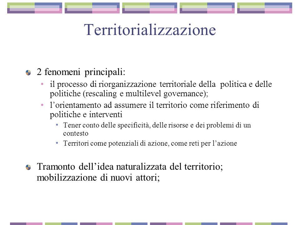 Territorializzazione 2 fenomeni principali: il processo di riorganizzazione territoriale della politica e delle politiche (rescaling e multilevel gove