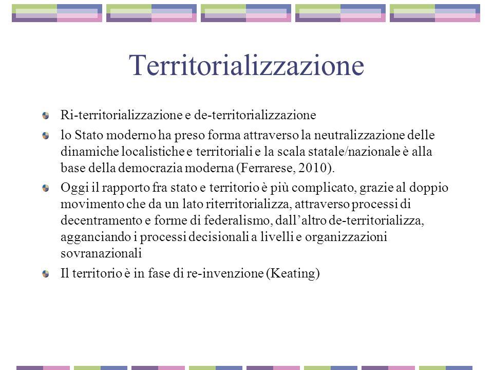 Territorializzazione Ri-territorializzazione e de-territorializzazione lo Stato moderno ha preso forma attraverso la neutralizzazione delle dinamiche